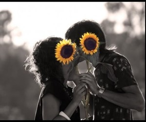love, kiss, and flowers image