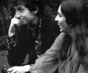 black and white, joan baez, and bob dylan image