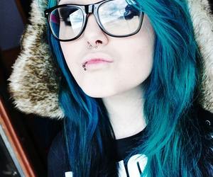 hair, blue, and piercing image