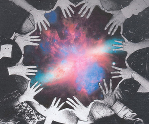 hands, galaxy, and space image