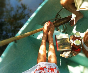 boat, summer, and book image