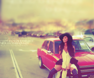 girl, pretty, and red car image