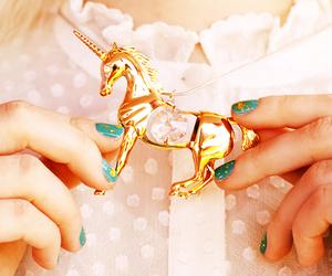 unicorn, necklace, and gold image