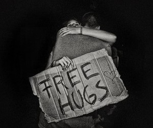 hugs, black and white, and cute image