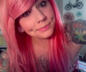 girl, piercing, and pink hair image
