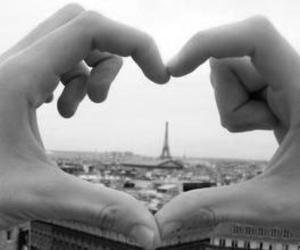 black and white, france, and heart image