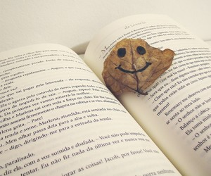 book, smile, and leaves image