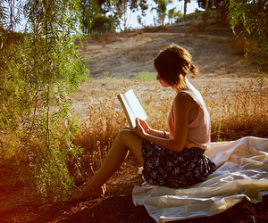 book, girl, and reading image