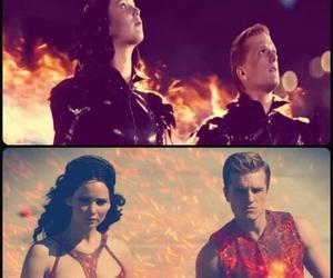 fire, peeta mellark, and katniss everdeen image