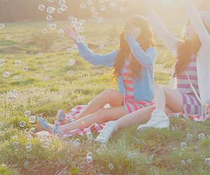 girl, friends, and bubbles image