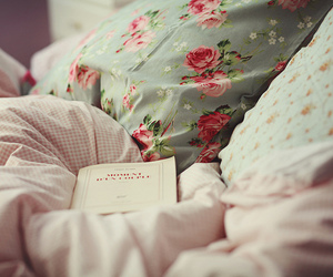 bed, book, and vintage image