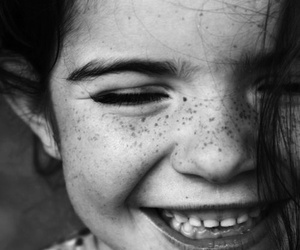 black and white, freckles, and girl image