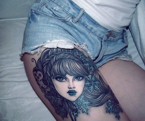 girl, Tattoos, and leg image