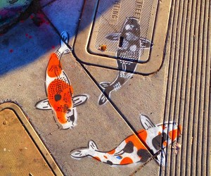 fish, koi, and street art image