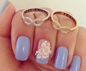 nails, rings, and flowers image