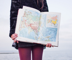girl, photography, and map image