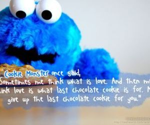 cookie monster, lady, and love image