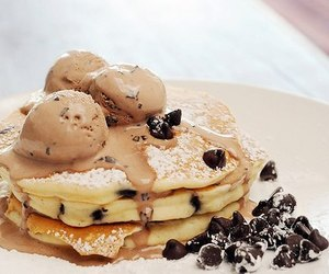food, pancakes, and chocolate image