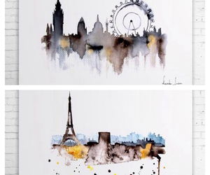 buildings and watercolor image