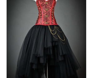 gothic corset dress, gothic prom dress, and high-low gothic dress image