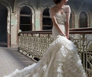 wedding dress, wedding, and lazaro image