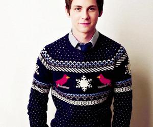 christmas, logan lerman, and christmas sweater image