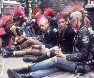 coloured hair, mohican, and punk image