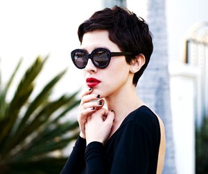 black nails, lady, and red lips image
