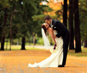 bride, couple, and dress image
