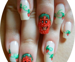 leaves, nails, and strawberries image
