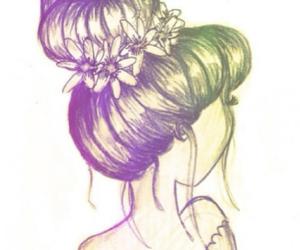 hair, bun, and drawing image