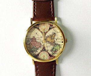 fashion, map watch, and vintage image