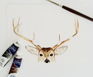 christmas, deer, and drawing image