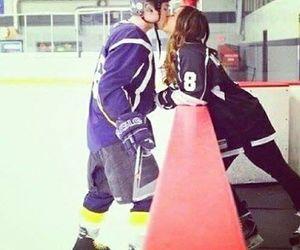 love, couple, and hockey image
