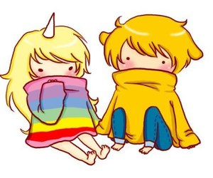 adventure time, JAKe, and rainbow image