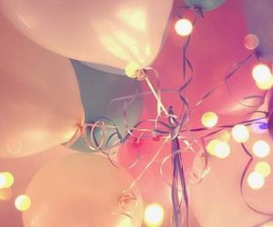 balloons, fairy lights, and ribbon image