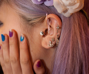 flowers, piercing, and pastel image