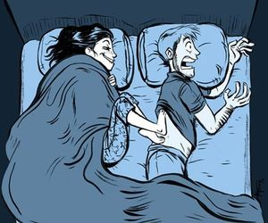 funny, couple, and bed image