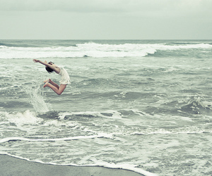 girl, jump, and water image