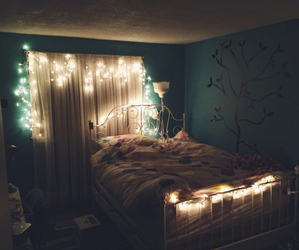 bedroom, decor, and lights image