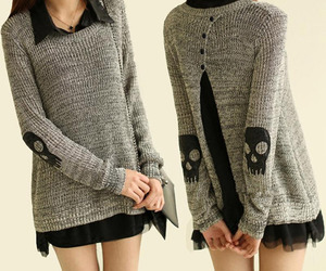 black, skull, and sweater image