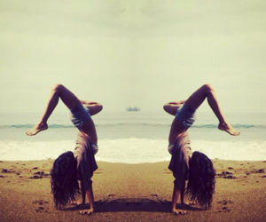 beach, girl, and handstand image