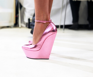 fashion, pink, and wedges image