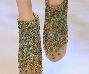 fashion, gold, and wedges image