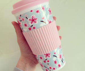 pink, flowers, and cup image