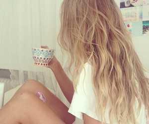 blonde, tea, and girl image