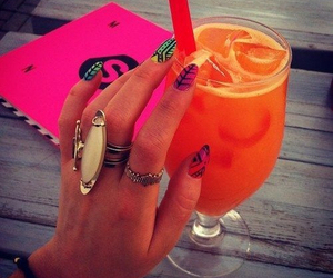 nails, drink, and summer image