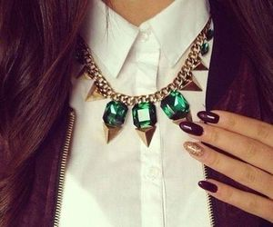 fashion, nails, and necklace image