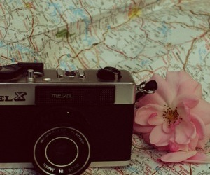 camera, flower, and map image