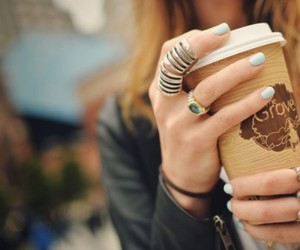 fashion, coffee, and rings image